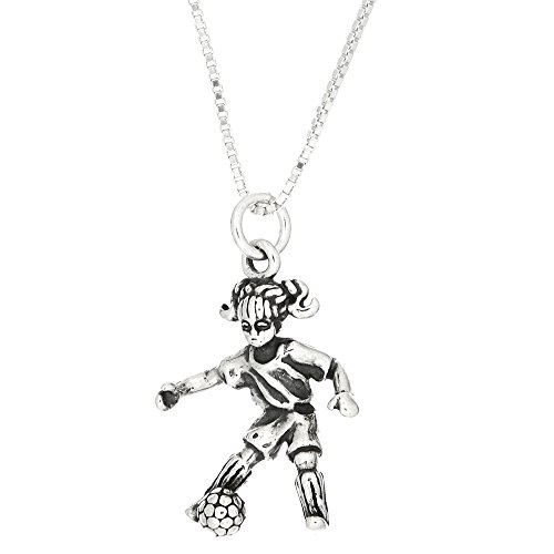 Sterling Silver Oxidized 3D Girl Soccer Player Charm Pendant with Polished Box Chain Necklace (16 ()