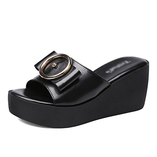 Fashion Outer Thick Heel Black Wear Bottom Summer Round ZCJB Woman Buckle High Sandals Slope Slippers Bowknot WPxqHTXP