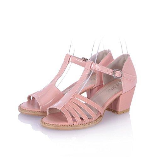 abierta Kitten punta Material gruesos Heel UK Sandalias sólidas 5 Mujeres PU Rosa hebilla suave VogueZone009 con Tacones wH4xBqE5xS