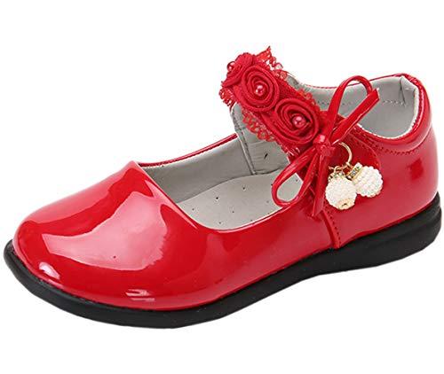 DADAWEN Girl's Strap School Uniform Dress Shoe Mary Jane Flat (Toddler/Little Kid) Red US Size 9 M Toddler