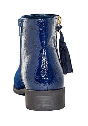 Gc Scarpe Donna Zarra Oro Dettaglio Stivaletto Alla Caviglia Blu Navy Velluto