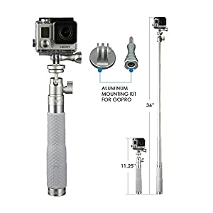 Selfie Stick EGIIS X33 Hybrid Professional Monopod. The Ultimate Extension Pole for your GoPro and Smartphones. All Aluminum GoPro Adapter, Smart Phone Holder, Carabiner, non-slip rubber grip and Lanyard included.