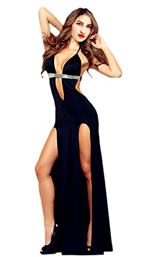 (Honeystore Women's Halter Sequin Slit Dresses Long Lingerie Club Nightgowns Black)