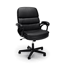 Essentials By Ofm Leather Executive Chair, Ergonomic Managers Computeroffice Chair, Black (Ess-6025)