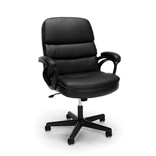 - Essentials by OFM Leather Executive Chair, Ergonomic Managers Computer/Office Chair, Black
