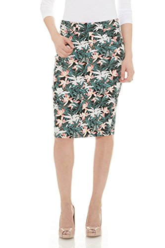 Esteez Jean Skirt for Women Knee Length Brooklyn White Floral 6
