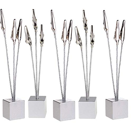 5 Pcs Cube Base 3-Branch Tree Style Memo,Photo Clip,Paper Holder,Table Number Holder for Wedding Party Sliver