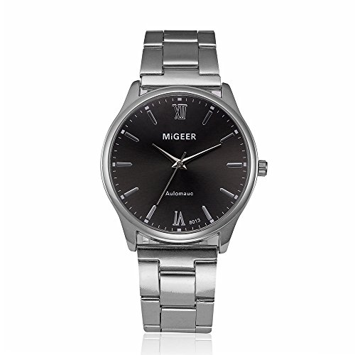 WUAI Mens Automatic Watches, Stainless Steel Mesh Band Mens Business Dress Classic Watch Wrist Watch for Men(F,One Size) 202 Silver Case Watch