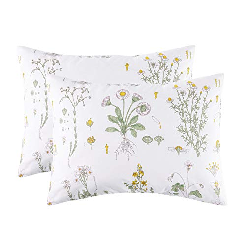 100 Yellow Small Case - Wake In Cloud - Pack of 2 Pillow Cases, 100% Cotton Pillowcases, White with Yellow Botanical Flowers Green Leaves Floral Garden Pattern Printed (Standard Size, 20x26 Inches)