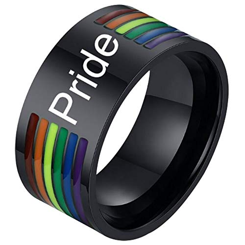 (Nanafast Stainless Steel Gay Pride Rings LGBT Enamel Rainbow Stripe Lesbian Pride Ring Wedding Band for Men and Women Style 2 Size 11)