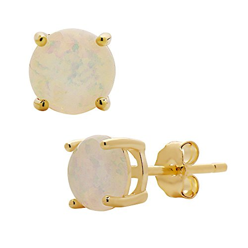 (Womens 6mm Sterling Silver Created Opal Stud earrings - Basket Setting many colors available (White, yellow-gold-flashed-silver))