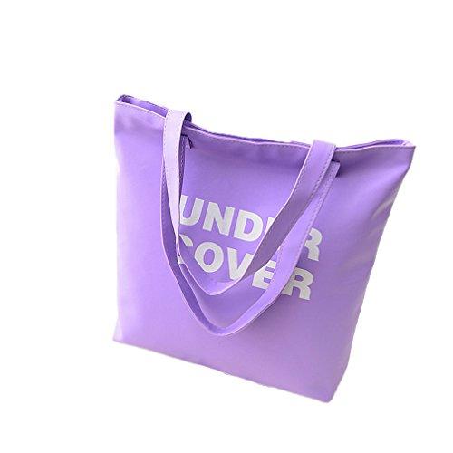 La Vogue Sac Cabas Bandoulière Femme/Fille Simili Cuir Grand Compartiment Alphabet Shopping Violet Taille40*37*8cm
