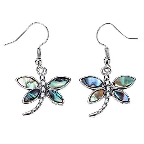 Dragonfly Earrings (Szxc Jewelry Women's Lovely Dragonfly Abalone Shell Dangle Earrings)
