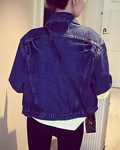 Confortevole Cappotto Casual Giovane Autunno Giacche Tasche Lunga Outwear Donna Blau Breasted Anteriori Jeans Manica Elegante Single Women Moda Di Giacca Bavero Corto wTFUqO