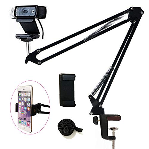 "Tencro Webcam Mount Phone Holder Suspension Scissor Arm Webcam Stand Camera Mount Phone Tripod Holder for Cellphones, Logitech Webcam C920 C930 C922 C615 and Other Devices with 1/4"" Threaded"