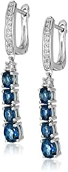 Sterling Silver London Blue Topaz Dangle Earrings, 1""