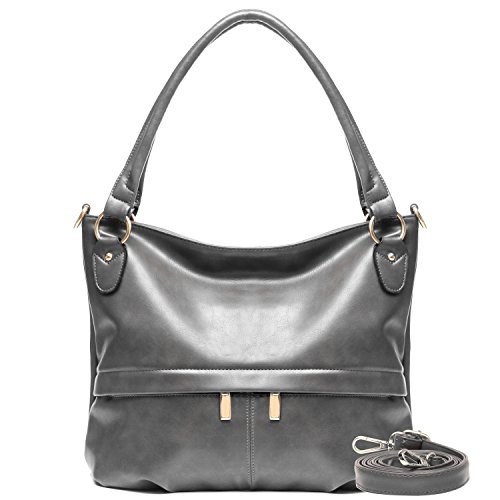 Gray Hobo - YOLANDO Womens Vintage Style Faux Leather Hobo Tote Bag Shoulder Handbag with Zippered Pockets, Large Capacity (Gray)