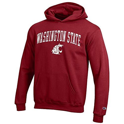 Elite Fan Shop Washington State Cougars Kids Hooded Sweatshirt Arch Crimson - L