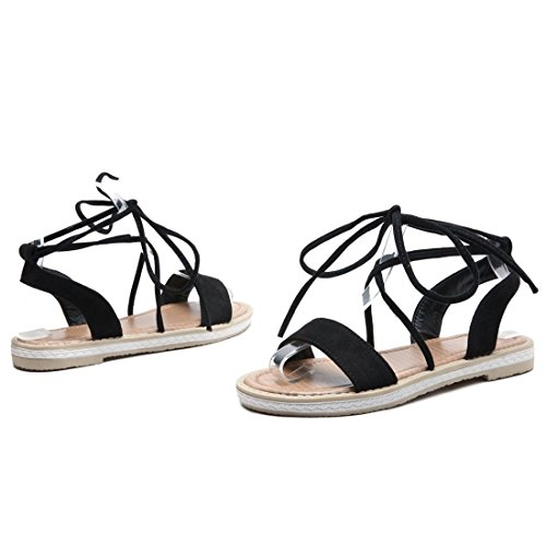 Planas Black de Primavera Estudiante Verano AIKAKA Zapatos Mujer Sandalias xRqFxY85