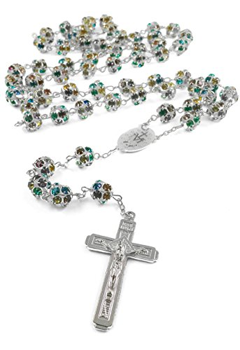 Colorful Crystal Beads Silver Rosary Catholic Necklace Miraculous Medal Jesus Crucifix Cross by Nazareth Store