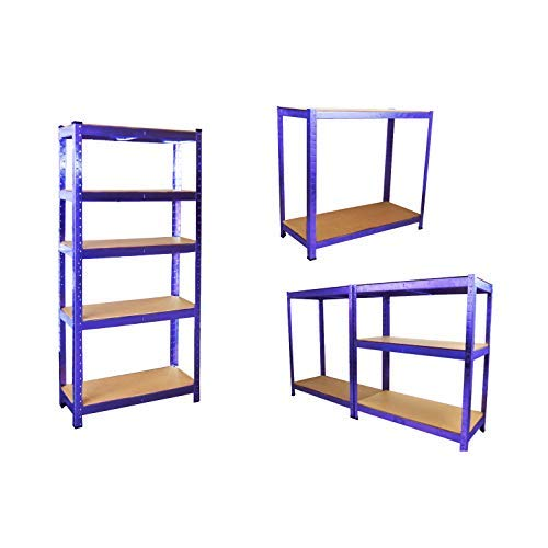 NEO® Heavy Duty Steel Blue 5 Tier Garage Shelving Shelf Racking Unit Storage Racks