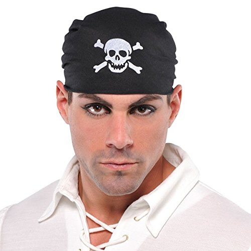[Amscan Boys Notorious Pirate Party Skull Bandana Accessory (Pack Of 1), Black, One Size] (Pirate Clothing And Accessories)