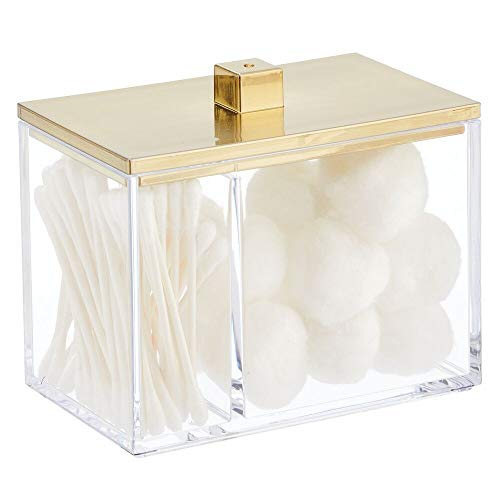 mDesign Modern Square Bathroom Vanity Countertop Storage Organizer Canister Jar for Cotton Swabs, Rounds, Balls, Makeup Sponges, Bath Salts - 2 Divided Sections - Clear/Soft Brass