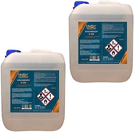 INOX® IX 200 Waschbenzin, 2 x 5L - Reinigungsbenzin für Textilien und Oberflächen in Auto oder Werkstatt mit hoher Fett- und Schmutzlösekraft