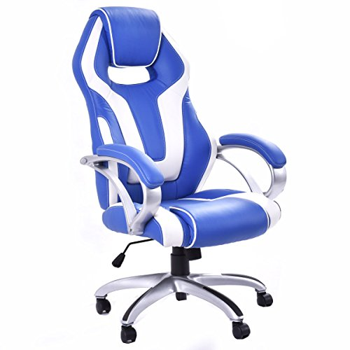 Giantex High Back Racing Style Office Chair PU Leather Bucket Seat Head Pillow Office Desk Chair White Blue