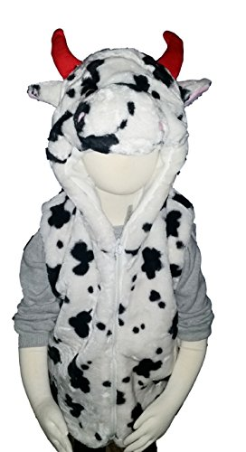 Fashion Vest with Animal Hoodie for Kids - Dress Up Costume - Pretend Play (Small, Cow) ()