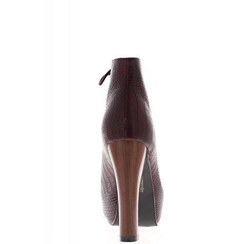 Bottines bordeaux talon bois de 11,5 cm bouts droits