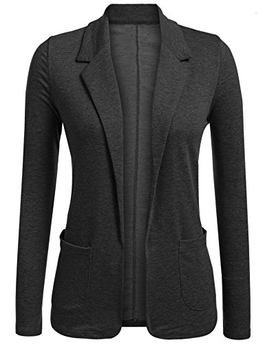 Concep Women's Work Office Long Sleeve Open Front Blazer Casual Cotton Suit Jackets (Black Grey, M)