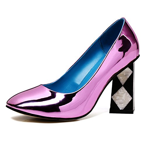 Uu Donne Tacchi Colore In Rosso Viola Di Alti Dimensioni Donna Scintillio Vestito Vernice Pompe 39 Scarpe AxTCdqI5w