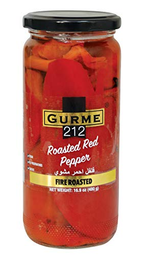 Gurme212 Fire Roasted Red Peppers, 17oz Jar