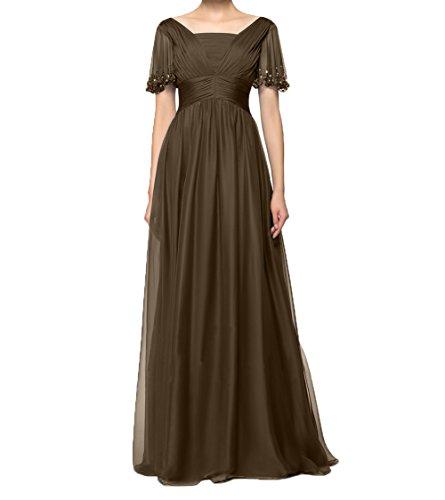 Charmant mit Braun Langes Ballkleider Festlichkleider Abendkleider Kurzarm Brautmutterkleider Damen Partykleider Chiffon 4qPnrpw4