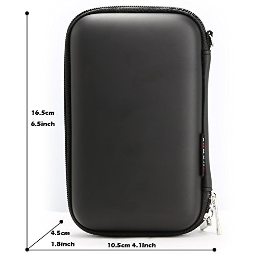 Power Bank Pouch, iMangoo Shockproof Carring Case Hard Protective EVA Case Impact Resistant USB Cable Organizer Sleeve Adapter Pocket Earphone Travel Wallet Pouch for Ravpower Anker Battery Pack Black
