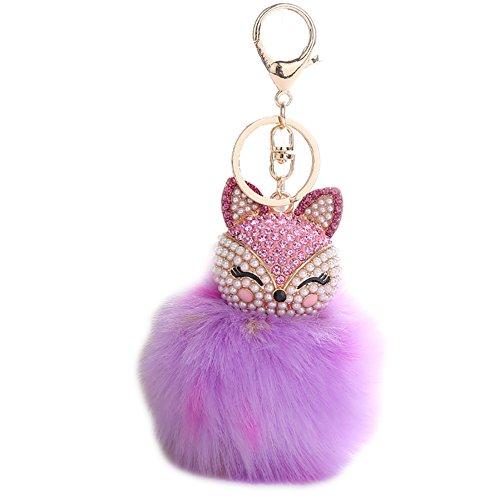 Fox Keychain (Fox Fur Ball Pearl Rhinestone Keychain Keyring for Car Key Ring Handbag Chain)