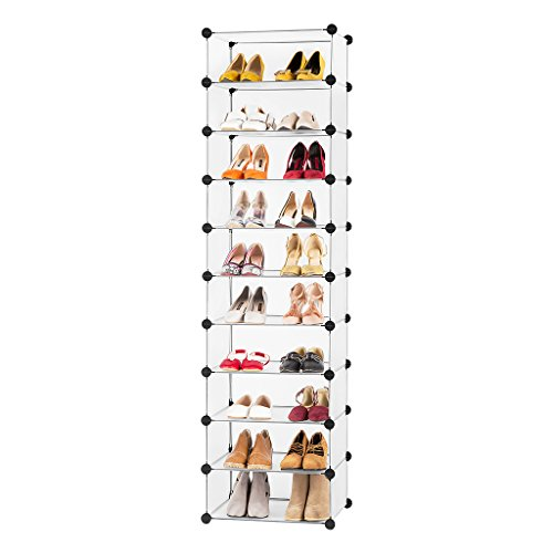 LANGRIA 5-Tier Utility Shoe Rack Organizer, Modular Storage Shoe Organizer, Free Standing Portable Multi Use Plastic Cabinet with Door Panels, Translucent White (White Cd Cabinet)