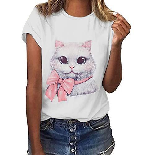 (Women's Cat Print Tee Casual Loose Short Sleeve T-Shirt)