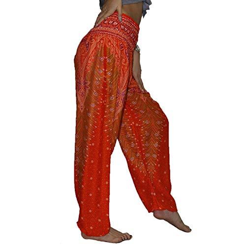 Lofbaz Women's Harem Boho Gypsy Pants Print - Peacock Orange and Red 2XL