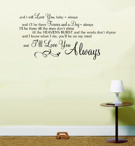 Bon Jovi Always Song Music Lyrics Love Wall Art Sticker (Black, Large 58cm  H X