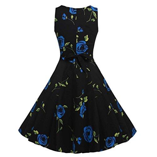 QIYUN.Z Vestido Impreso Floral Sin Mangas Del Oscilación Del Coctel Del Partido De Los Años 50 De La Vendimia De Las Mujeres Rosa Negro Y Azul