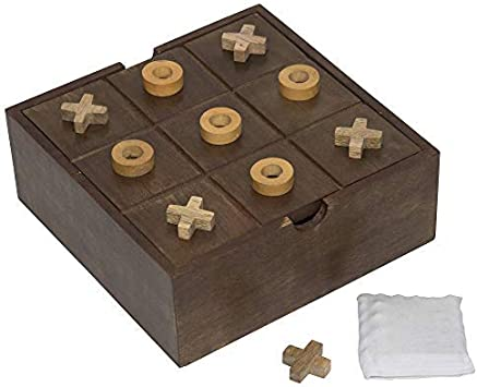 Fine Craft India Tic Tac Toe Board 2 in 1 Wooden Game Set for Kids Return Gift Size 8x8x3 inch