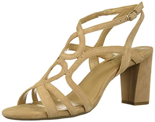 Aerosoles Suede Sandals (Aerosoles Women's Early Bird Heeled Sandal Light tan Suede 9 M US)