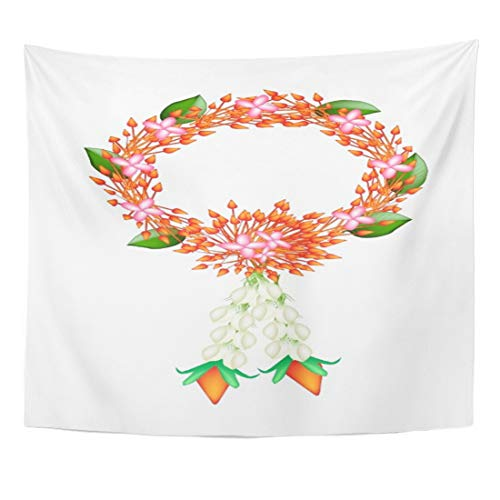 Angoni Tapestry Symbol of Love and Luxury Beautiful Flower Garland with Red Ixoras White Jasmines Roses The in Thai Home Decor Wall Hanging for Living Room Bedroom Dorm 60x80 inches by Angoni