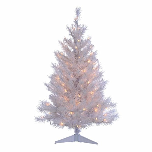 Colorado Christmas Tree - 3' White Colorado Spruce Christmas Tree with 100 Clear Lights with Stand