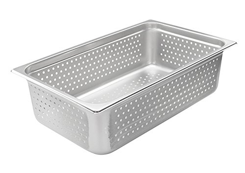 Winco SPJH-106PF, 6-Inch Full-Size Perforated Steam Pan, 22 Gauge Stainless Steel Sheet Pan, Serving Hotel Pan, NSF
