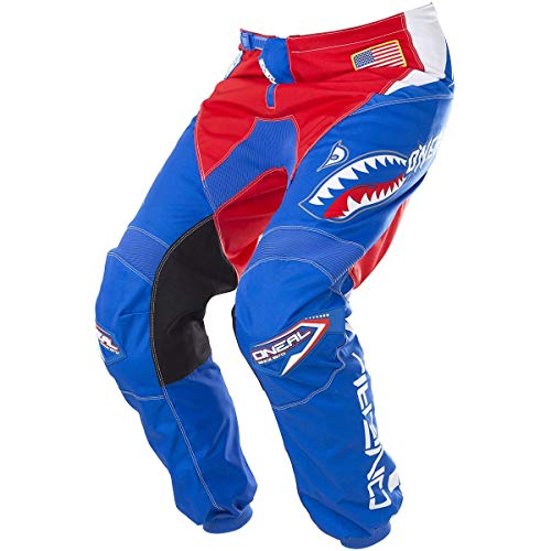 O'Neal Element Unisex-Child Afterburner Pant (Blue/Red, Youth 28)