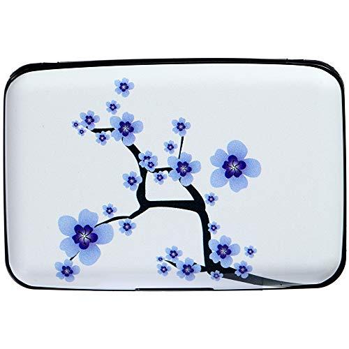 Designs Blossom Plum - Caranda RFID Aluminum Wallet Credit Cards Holder Metal ID Case for Men Women (Plum Blossom)