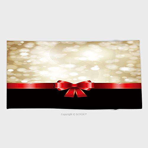 27.5W x 11.8L Inches Custom Cotton Microfiber Ultra Soft Hand Towel Christmas Background With Red Bow And Glittery Gold Theme 86304292 (Tied Bows Christmas Hand)